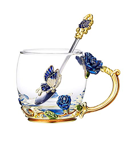 - Luxury Enamel Glass of Butterfly Rose Heat-Resistant Crystal Glass Coffee Cup Couples Creative Gift Flower Tea Cup (Blue rose)