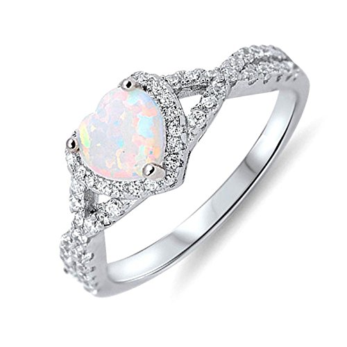 Sterling Silver Wedding Engagement Promise Ring Lab Created Opal Clear Cubic Zirconia Size 6 by Wedding Season Import