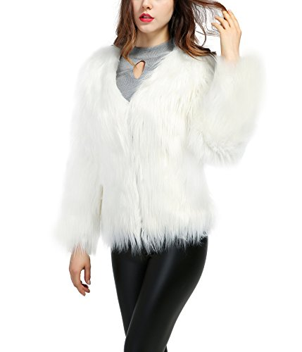 White Faux Fur Jacket - 4