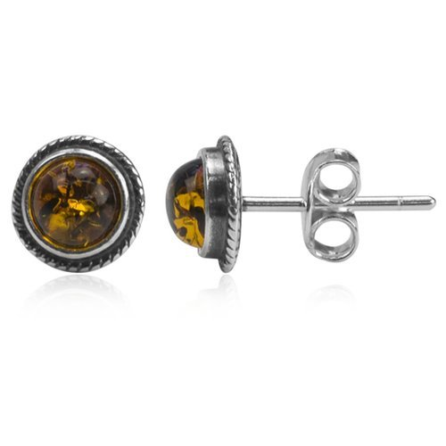 Sterling Silver Amber Classic Round Stud Earrings Amber Stud Earrings