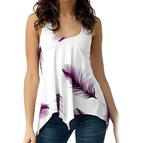 KCatsy U Neck Feather Print Lace Up Tank Top