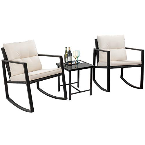 Flamaker 3 Pieces Patio Furniture Set Rocking Wicker Bistro Sets Modern Outdoor Rocking Chair Furniture Sets Cushioned PE Rattan Chairs Conversation Sets with Coffee Table (Black)