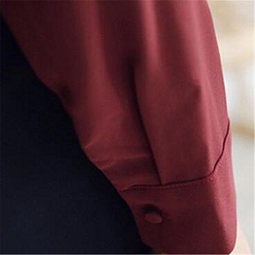 Buse Maglie Scollo E Top Maglie T Gogofuture Con Bluse Puro Camicia Red Camicie Manica Colore Casual Donna Polo Lunga Eleganti Shirt Camicetta V E Tops wwBxqZXzf