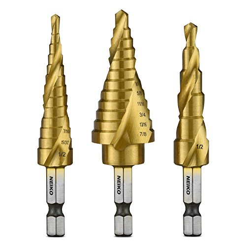 - Neiko 10181A Quick Change HSS Titanium Coated Spiral Grooved Step Drill Bit 3-Piece Set | 31 Step Sizes in One Kit