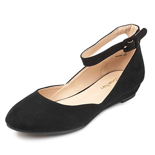 DREAM PAIRS Women's Revona Black Suede Low Wedge Ankle Strap Flats Shoes - 7 B(M) US