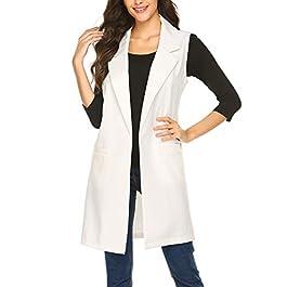Meaneor Long Vest for Women, Long Sleeveless Duster Blazer Vest Jacket, S-XXL