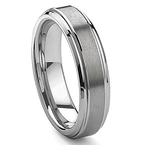 6MM Tungsten Carbide Wedding Band Ring Brushed Center Sz 8.5