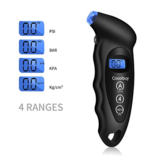 Cooolbuy-Digital-Tire-Pressure-Gauge-150-PSI-4-Settings-with-Balcklight-LCD-and-Non-Slip-Grip-Button-CellsTire-Valve-CapsCarry-Bag-Included