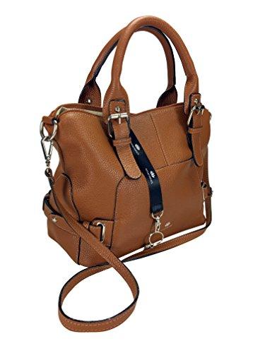 Softe echt Leder Tasche von TONI&FRIENDS® mit Schlüsselfinder und Chip, Reißverschlusstasche innen und Steckfächern, ca. 28x24x15cm Cognac