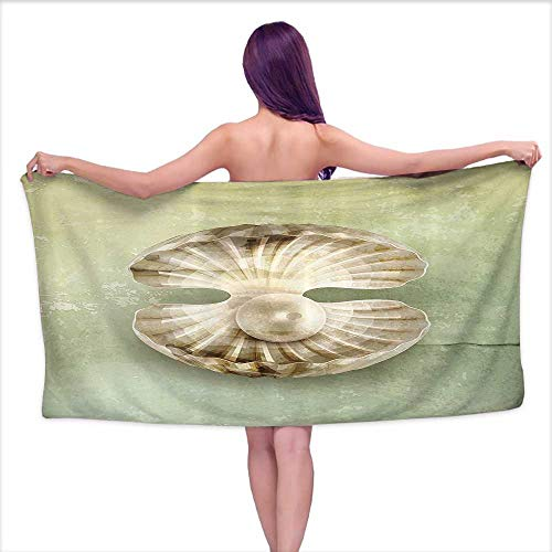 Glifporia Soft Bath Towel Pearls Decoration,Pearl Within Open Shellfish Marine Life Magical Creature Vintage Texture Image,Green Beige,W12 xL35 for Kids Mickey Mouse