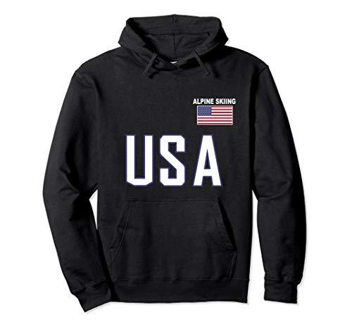 - USA Flag Alpine Skiing Pullover Hoodie Pocket Ski Jacket