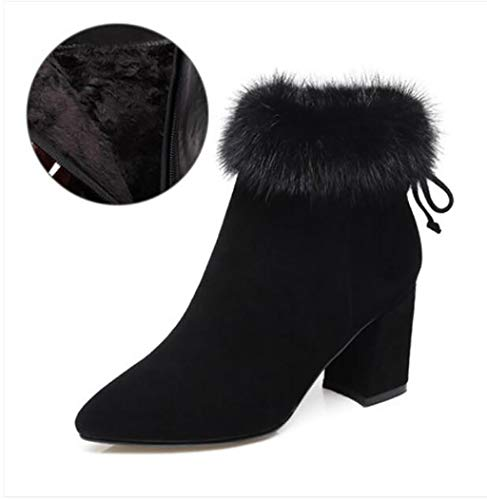 Mujer A Puntiagudas Zapatos Grueso Botas Martin De Invierno Escarchados Tacón Alto Otoño Con E 5RwOpxRqn