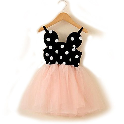 Baby Girl Birthday Dress shining Crown (4T, Minnie Mouse polka dot tutu) (Minnie Birthday Mouse)