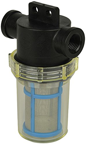1/2'' Female NPT In-Line Strainer with mounting tab and 50 mesh stainless steel screen and Poly/Nylon housing by VacMotion Inc.