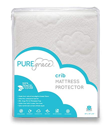 Natural Crib Mattress Protector Made From Tencel Eucalyptus Fibers By Puregrace 28 X 52 Breathable Hypoallergenic Pad With Baby Safe Waterproof Layer