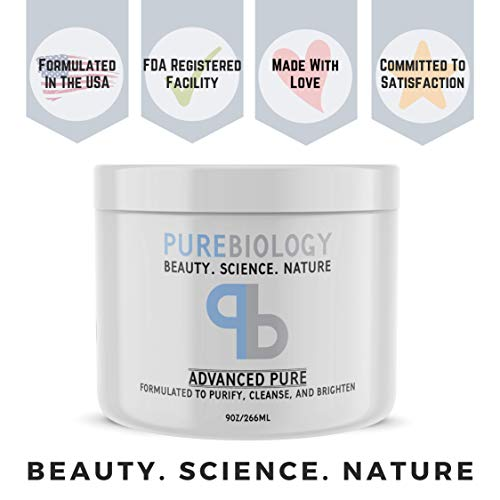 Pure Biology Face Mask w/ Bentonite Clay, Kaolin Clay, Pea Peptides, Vitamins A + E – Cleanse, Smooth & Minimize Deep Pores, Dark Spots, Blackheads & Acne Scars – Men & Women, All Skin Types