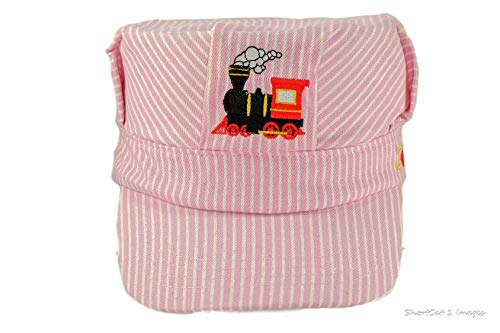 Young Girls Choo Choo Train Steam Engine Embroidered Train Engineer Hat with I Love Trains Pink/White