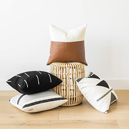 Woven Nook Decorative Throw Pillow Covers, 100% Cotton with Faux Leather, Zulu Set, Pack of 4 (18″ x 18″)