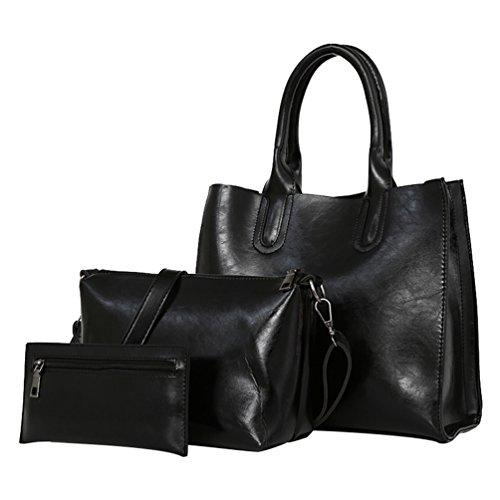 YouPue Damen Ölwachshaut PU-Leder Handtaschen Schulter Handtaschen Crossbody Taschen Geldbörse 3 Stück Schwarz