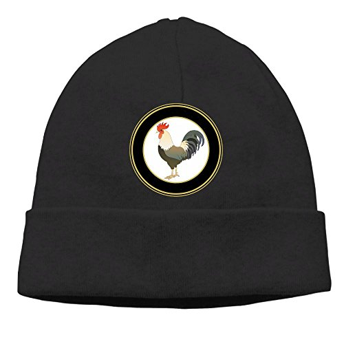 AKKK47 Chicken Rooster Unisex Daily Solid Knit Cap Beanie That Fit Your Head Perfect Stretchy & Soft Black (Inner Your Video Fish)