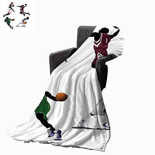 vanfan-home Sports Faux Fur Throw Blanket,Basketball Players Dribbling Dunking Floater Vibrant Colored Uniforms Sportsmanship Reversible Soft Fabric for Couch Sofa Easy Care ()