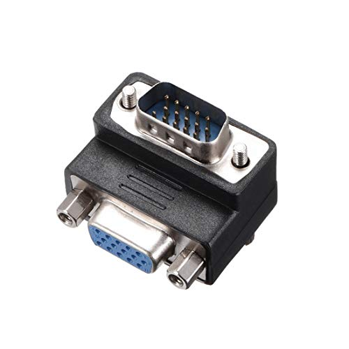 (uxcell DB15 VGA Gender Changer 15 Pin Female to Male 3-Row Right Angle Mini Gender Changer Coupler Adapter Connector for Serial Applications Black)
