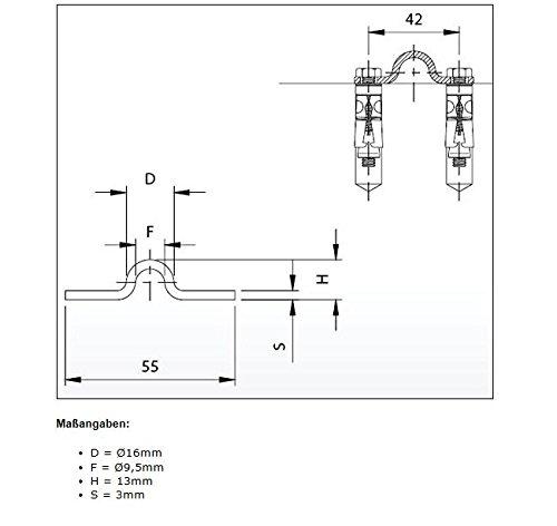 Schiene VZ Aufschrauben 16mm BAUER L/änge 6m