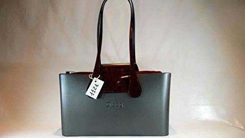 Borsa O bag city colore graphite manici extra slim a goccia in vernice geomet...