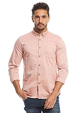 Flying Machine Peach Shirt Neck Shirts For Men