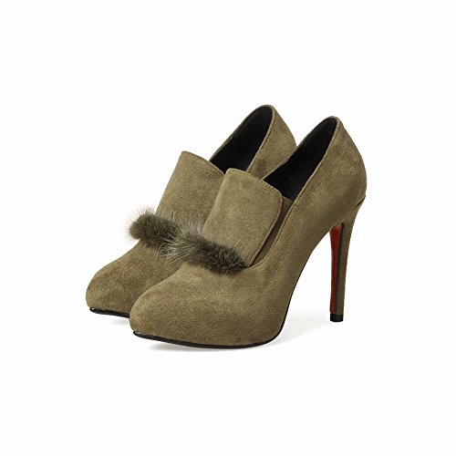 Mee Shoes Women's Office Stiletto High Heel Faux Fur Court Shoes Green XwpIDvsyE