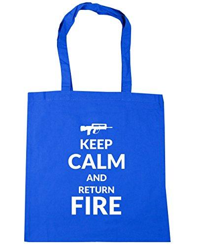 HippoWarehouse Keep calm and Fire de retorno de y bolsa de la compra bolsa de playa 42cm x38cm, 10litros Azul Aciano