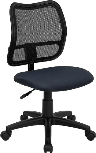 Mid-Back Mesh Task Chair w/Blue Fabric Seat