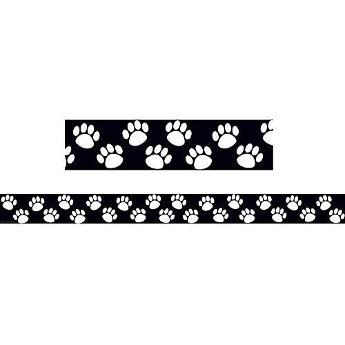 Teacher Created Resources TCR4642BN Black/White Paw Prints Straight Border Trim, 35' Per Pack, 6 Packs]()
