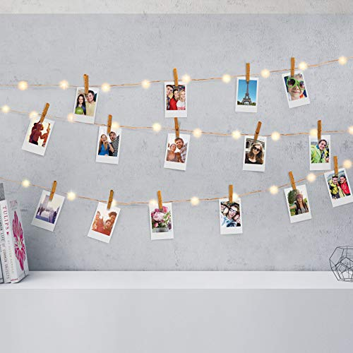 Firefly LED Mini Clip String Lights, 36 Warm White LED Lights,15ft,Battery Operated for Photos/Home Décor/Indoor/Outdoor/Party/Christmas Decoration/Birthday/Wedding/Festival (Copper Chrome Clips)