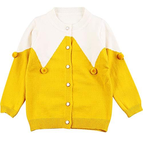 c7cf8ec2deab9 MiXiaoJie 子供服 女の子 ニットセーター 長袖 可愛い ポンポン飾り ベビー服 カーディガン 編み物 ラウンドネック 前