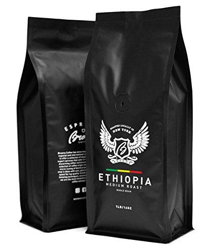 Browny Ethiopia Yirgacheffe Roasted Coffee Whole Beans - Premium Artisan Roast in 16oz (Medium Roast, 1 Pound) - Ethiopian Yirgacheffe Whole Bean