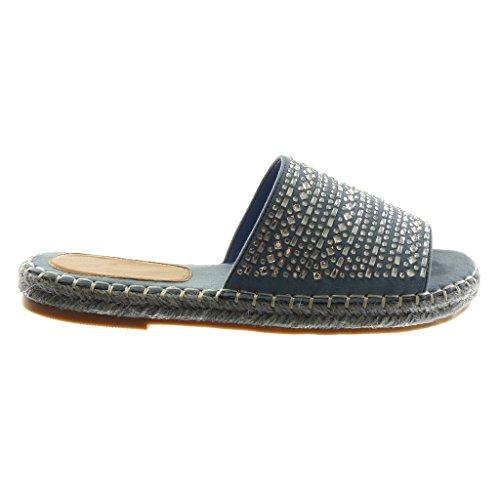 Angkorly Zapatillas Moda Sandalias Mules Slip-On Mujer Strass Cuerda Acabado Costura pespunte Tacón Ancho 2.5 cm Azul claro