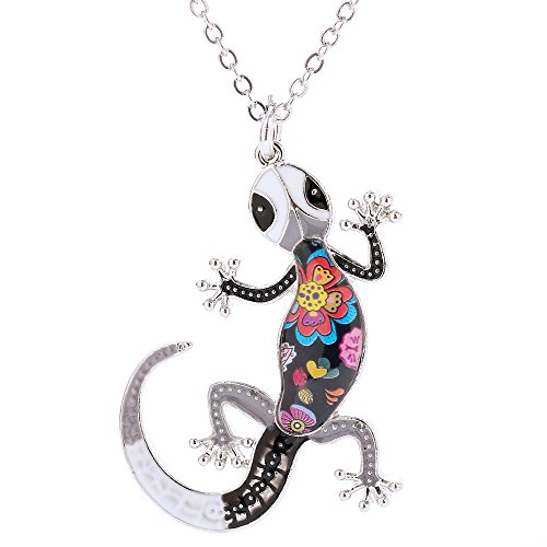 (Marte&Joven Lizard Pendant Jewelry for Women Handmade Enamel Gecko Chain Necklaces Gift for Birthday)