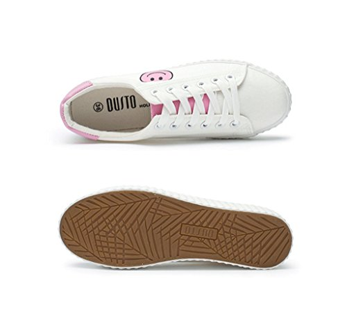 Frauen Mode Einfache weiße Lace-up Schuhe Student Casual Flache Schuhe Komfortable Low-Rise Schuhe ( Farbe : Pink , größe : 39 ) Pink
