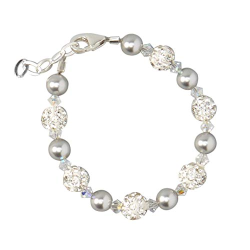 - Luxury White Pave Beads with Grey Swarovski Simulated Pearls and Clear Crystals Sterling Silver Stylish Unisex Baby Bracelet (BGSH_S)