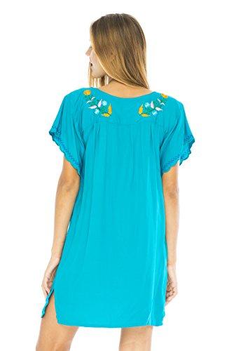 De Retour De Bali Femmes Mexico Turquoise Brodé Robe Courte