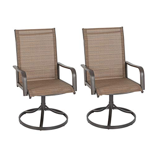 Ulax furniture Outdoor Patio Steel Swivel Dining Chair(s) with Sling Seat Set of 2