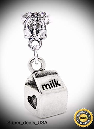 Milk Carton Container School Lunch Heart Dangle Bead for European Charm Bracelet DIY Handmade Ornament Crafts
