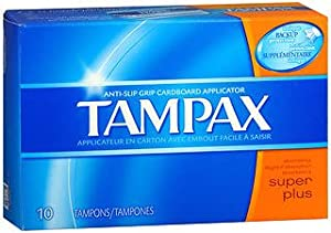 Tampax Biodegradable Applicator Tampons, Super Plus 10 ea (Pack of 6)