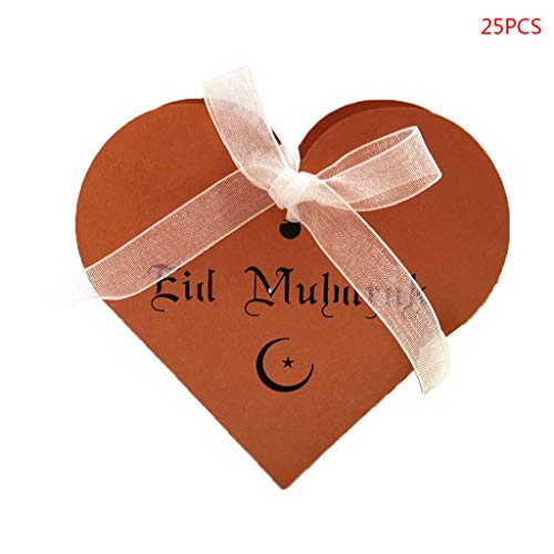 Seaskyer 25pcs Laser Cut Hollow Love Heart Chocolate Candy Box With Ribbon Happy Eid Mubarak Ramadan Party Decoration DIY (Bronze) ()