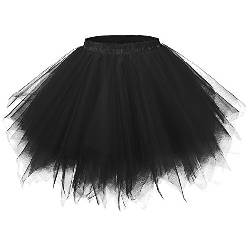 Girstunm Women's 1950s Vintage Petticoats Bubble Tutu Dance Half Slip Skirt Black L/XL -