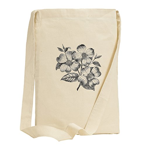 Dogwood Flowers Vintage Look Canvas Sling Tote - Center Shopping Dogwood
