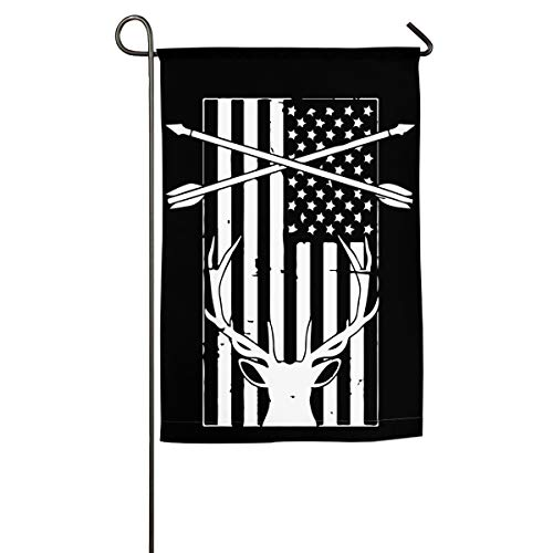 JQMY4QL American Flag & Deer Bow Hunting Family Gathering Flag Garden Flag Decorative Use Indoor Or Outdoor 12