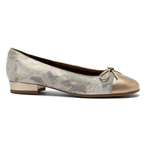 Paradise Flat Metallic ARA Taupe Silver Toe Women's Ballet Bel TT4XO