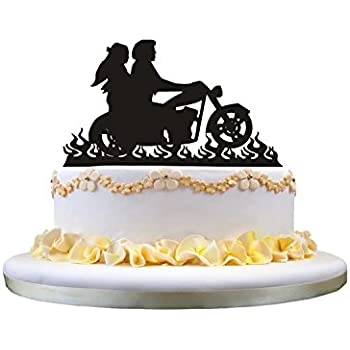 Motorcycle Wedding Cake Topper Bride And Groom Perfect For Decor